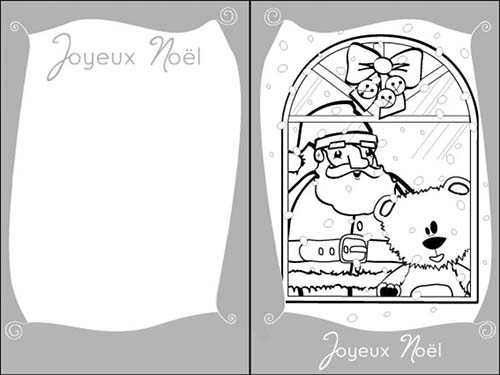 coloriage cartes de voeux de noel a colorier le pere noel a la fenetre. Black Bedroom Furniture Sets. Home Design Ideas