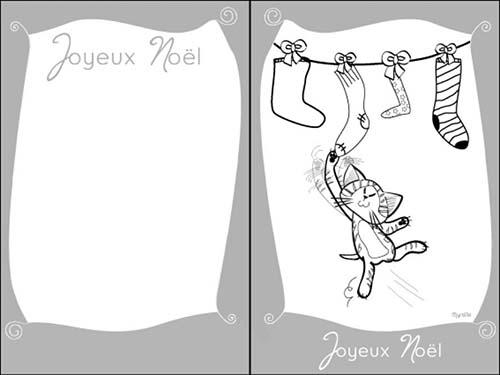 Cartes-de-voeux-de-Noel-a-colorier-Le-chat-joue-avec-les-chaussettes.jpg