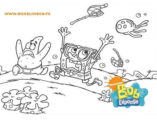Coloriage-BOB-LEPONGE-Bob-et-Patrick-poursuivis-par-une-meduse.jpg