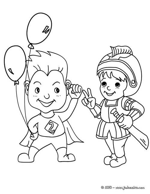 Coloriage carnaval costumes superman et chevalier costume - Carnaval coloriage ...