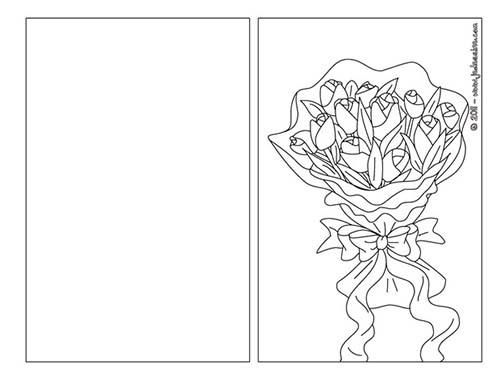 Coloriage carte a plier fete des meres carte a colorier - Carte fete des meres a imprimer ...