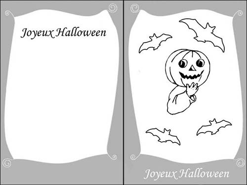 coloriage cartes invitation halloween citrouille. Black Bedroom Furniture Sets. Home Design Ideas