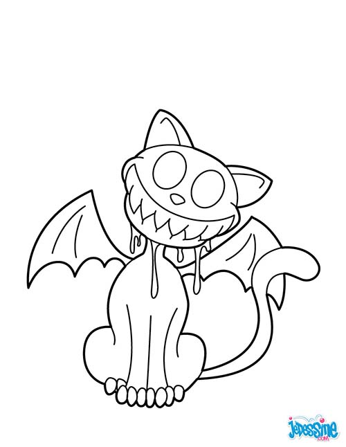 Coloriage chat halloween chat vampire souriant - Coloriage vampire ...