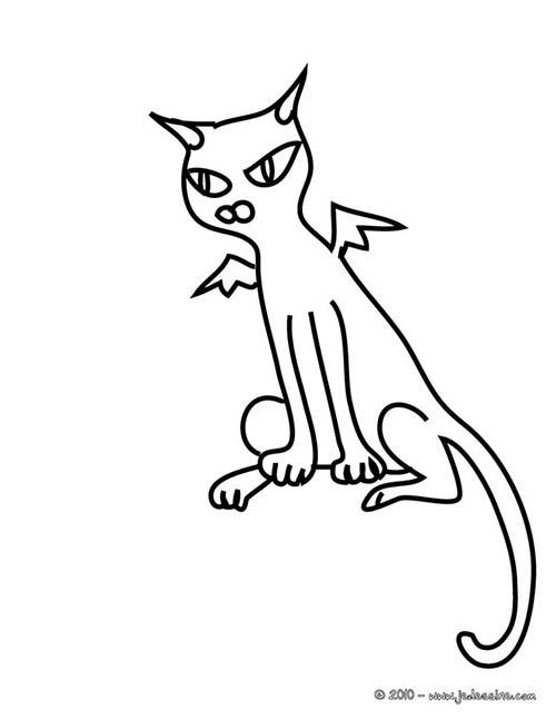 Coloriage chat halloween chat chauve souris - Dessin chat assis ...