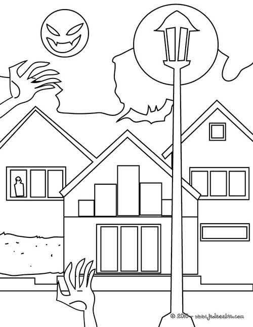 Coloriage chateau halloween coloriage en ligne maison hantee - Dessin de maison hantee ...
