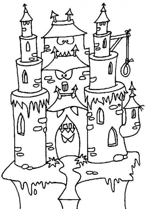 Coloriage chateau halloween coloriage gratuit maison hantee - Dessin de maison hantee ...