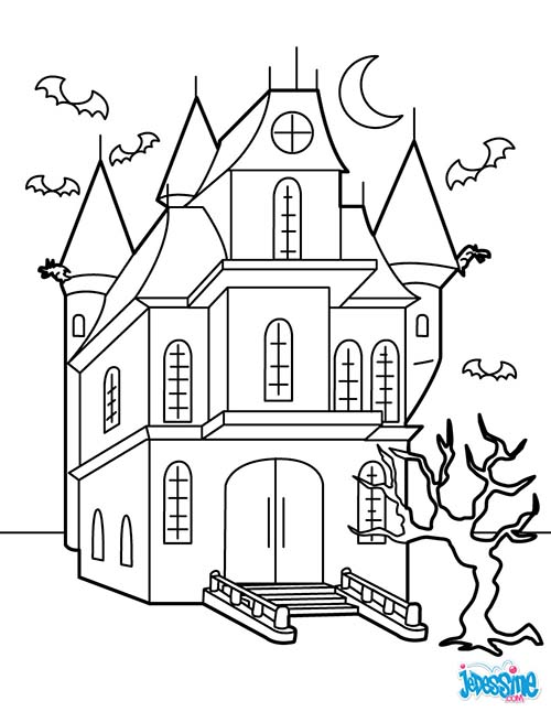 coloriage chateau halloween manoir hante. Black Bedroom Furniture Sets. Home Design Ideas