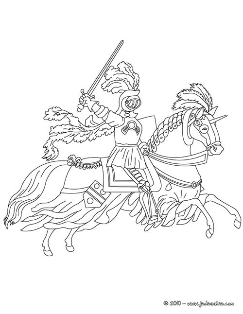 Coloriage chevaliers et dragons chevalier en armure sur - Dessin armure ...