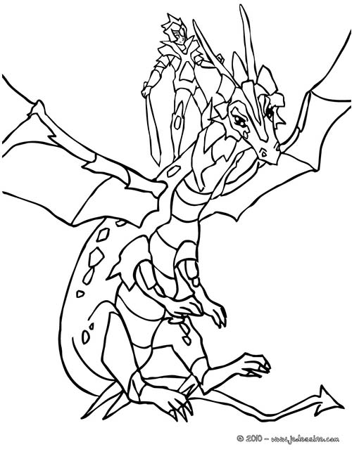 Coloriage chevaliers et dragons chevalier sur son dragon - Dessin armure ...