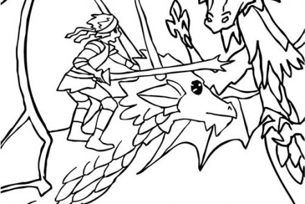 Coloriage-CHEVALIERS-ET-DRAGONS-Dragon-et-chevalier-attaquent-un-mechant-dragon.jpg