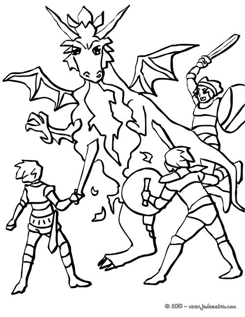 Coloriage-CHEVALIERS-ET-DRAGONS-Plusieurs-chevaliers-attaquent-un-dragon.jpg