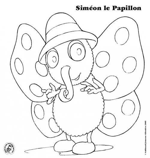 Coloriage droles de petites betes coloriage simeon le papillon - Coloriage drole a imprimer ...
