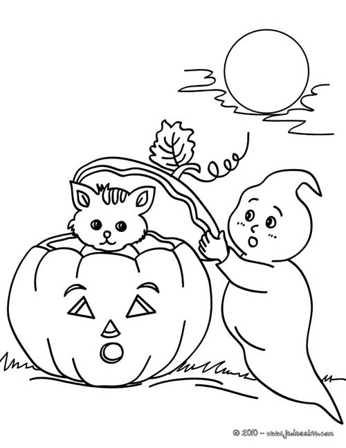 Coloriage fantome halloween fantome et chaton - Coloriage fantome halloween ...