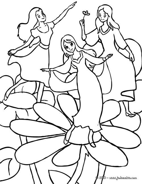 Coloriage fee des fees sur les fleurs - Coloriage de fee ...