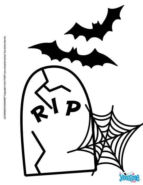 Coloriage halloween des monsieur madame chauve souris et pierre tombale - Pierre tombale dessin ...