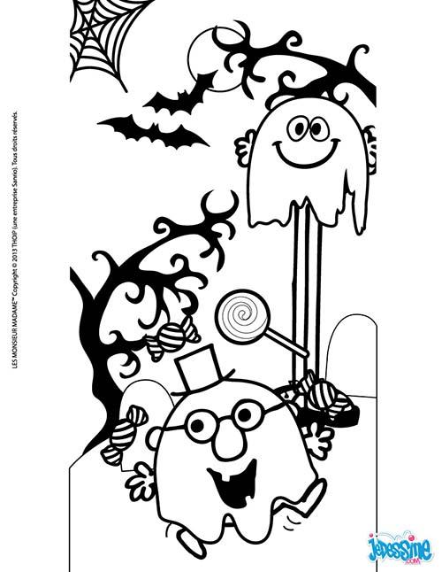 Coloriage halloween des monsieur madame les fantomes de halloween - Dessin pour halloween ...