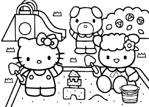 Coloriage hello kitty coloriage de hello kitty a la maison - La maison de hello kitty ...