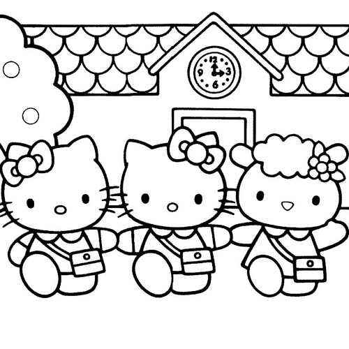 Coloriage hello kitty coloriage de hello kitty et ses amis - Coloriage hello kitty et mimi ...