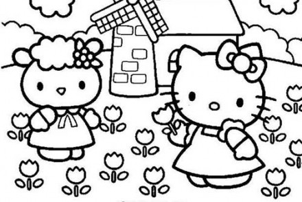 Coloriage-HELLO-KITTY-Hello-Kitty-cueille-des-fleurs.jpg