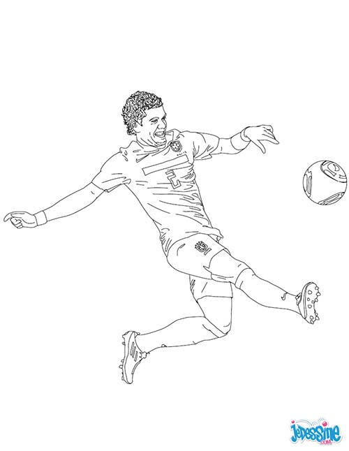 Coloriage joueurs de foot dani alves - Dessin de joueur de foot a imprimer ...
