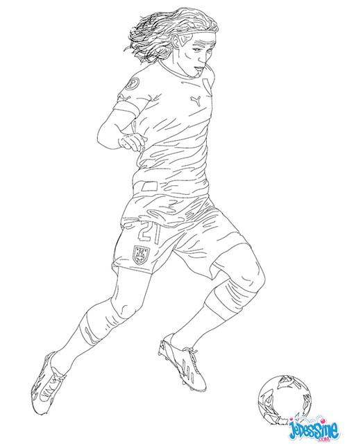 Coloriage joueurs de foot edinson cavani - Coloriage a imprimer footballeurs ...