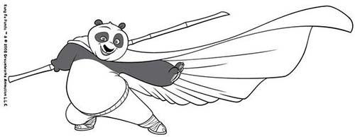 Coloriage kung fu panda po maitrise le baton - Coloriage a imprimer kung fu panda ...