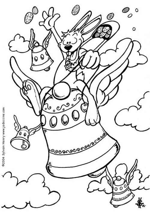 Coloriage lapins de paques coloriage d 39 un lapin a cheval - Dessin d une cloche ...