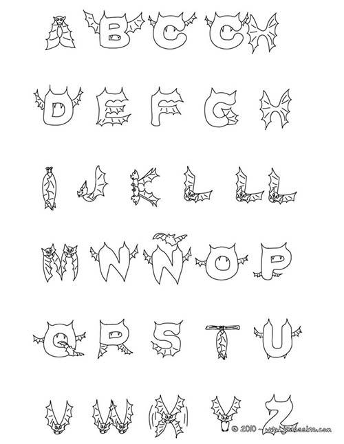 Coloriage lettres halloween lettres chauve souris a colorier - Lettres a colorier ...