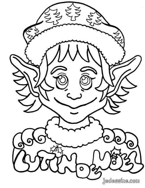 Coloriage lutins de noel coloriage du portrait d 39 un lutin - Coloriage de lutin ...