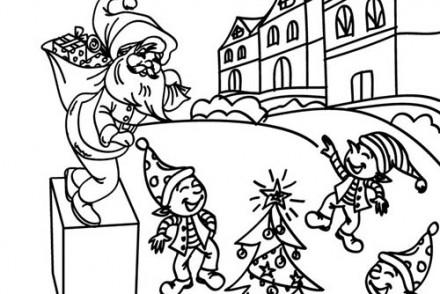 Coloriage-Lutins-de-Noel-Lutin-endormi-et-cadeau.jpg