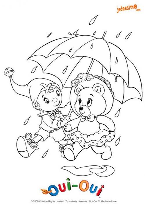 Coloriage mirou ours en peluche coloriage de mirou et oui oui sous la pluie - Dessin ours en peluche ...