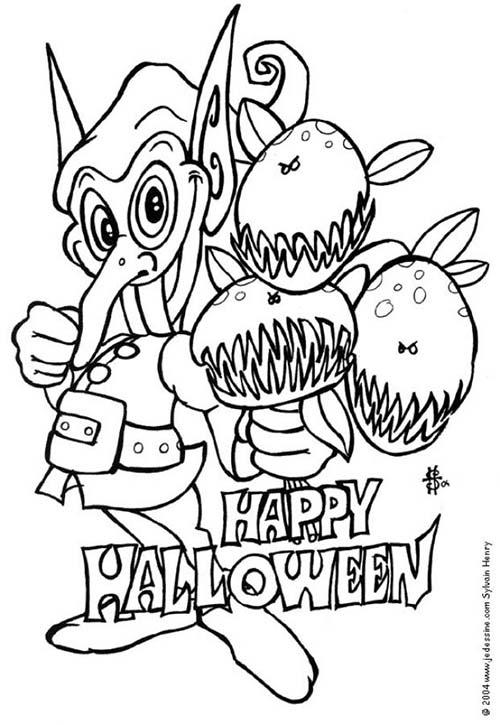 Coloriage monstre halloween coloriage d 39 un lutin - Dessin monstre halloween ...