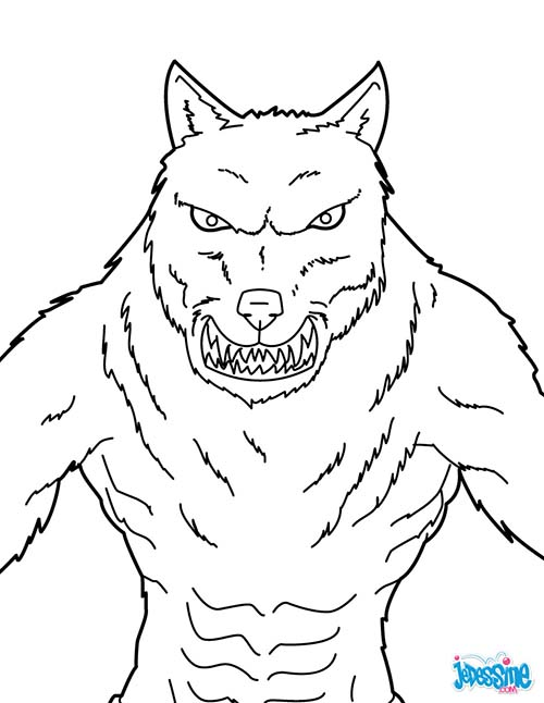 Coloriage monstre halloween loup garou menacant - Dessin monstre halloween ...