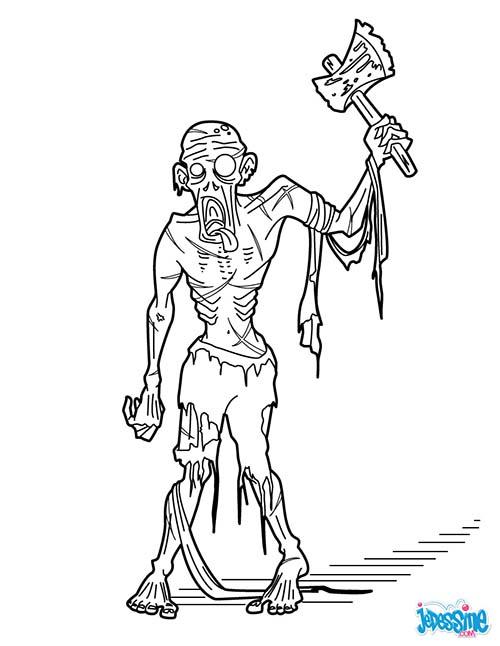 Coloriage monstre halloween zombie a la hache - Coloriage squelette halloween ...