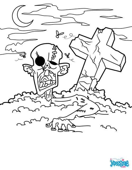 Coloriage monstre halloween zombie du cimetiere - Dessin d halloween facile ...