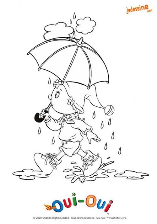 Coloriage oui oui et les quatre saisons coloriage de oui oui sous la pluie - Dessin 4 saisons ...