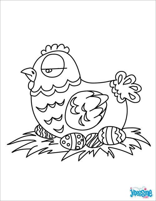 Coloriage poule de paques poule de paques en chocolat - Poule de paques a imprimer ...