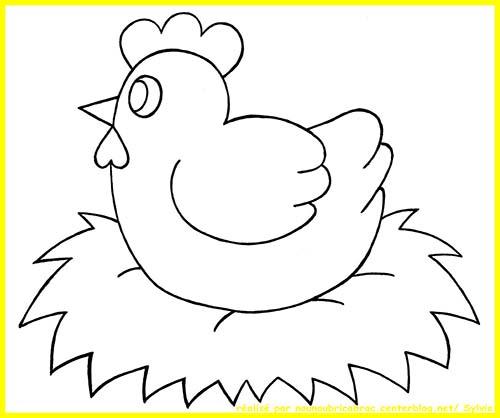 Coloriage poule de paques poule de paques sur son oeuf - Poule de paques a imprimer ...