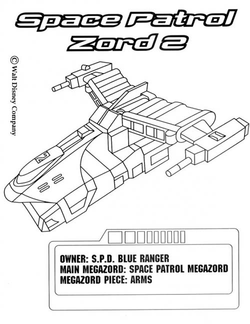 megazord coloring pages - coloriage power rangers navette space patrol zord 2