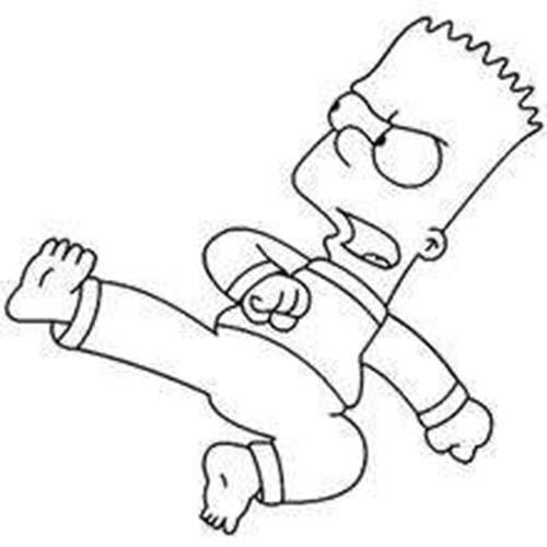 Coloriage simpson coloriage de bart au combat - Bart simpson coloriage ...