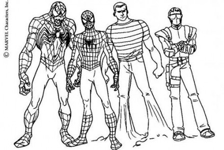 Coloriage-Spiderman-Venom-Spiderman-lhomme-sable-et-le-Bouffon-vert.jpg