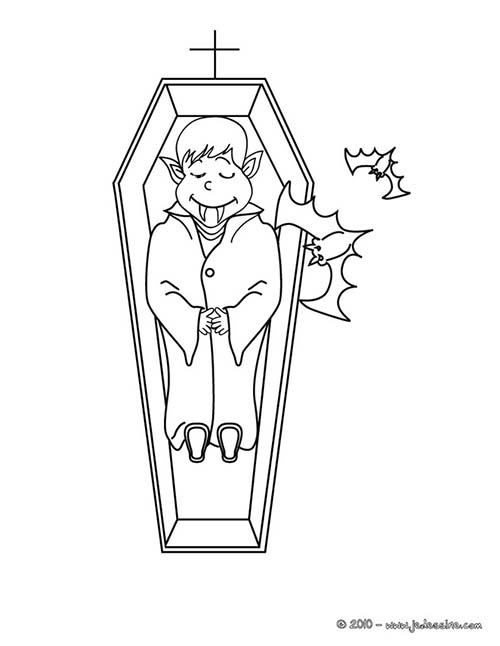 Coloriage vampire halloween vampire et son cercueil a colorier - Dessin vampire a colorier ...