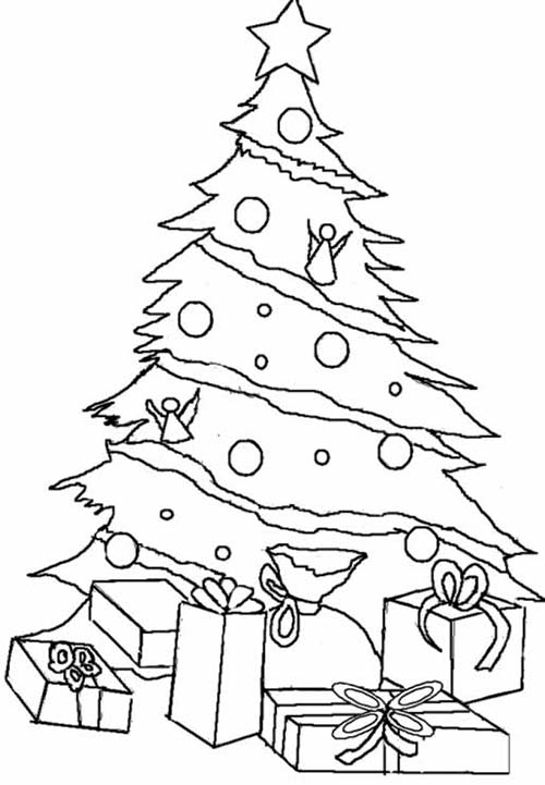coloriage de sapins de noel sapin de noel et cadeaux a. Black Bedroom Furniture Sets. Home Design Ideas