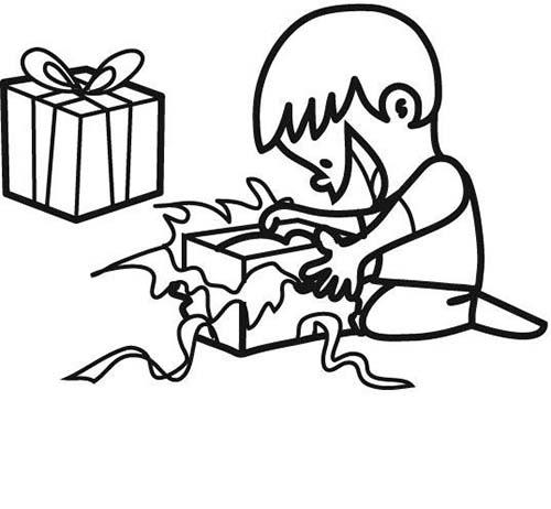 Coloriage des cadeaux de noel coloriage petit garcon aux cadeaux - Coloriage petit noel ...
