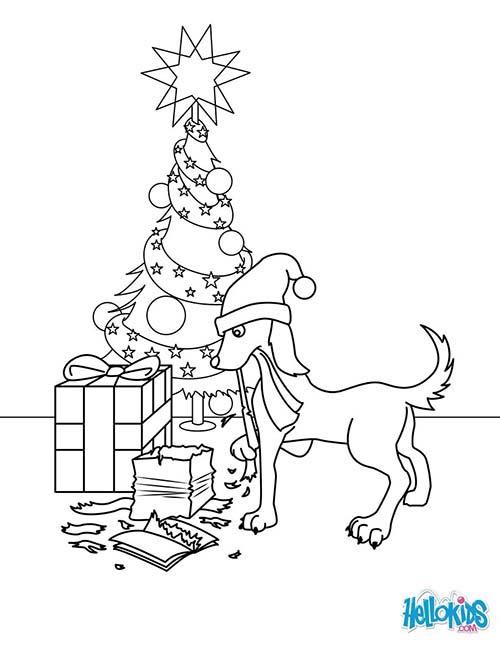 Coloriage-des-animaux-de-Noel-Chien-qui-mange-les-cadeaux-de-Noel.jpg