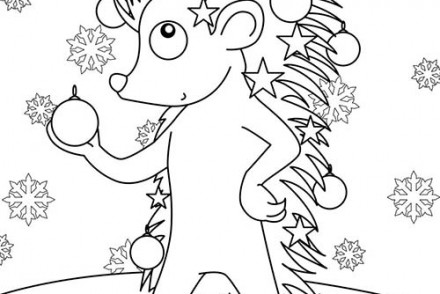 Coloriage-des-animaux-de-Noel-Herisson-decore-pour-Noel.jpg