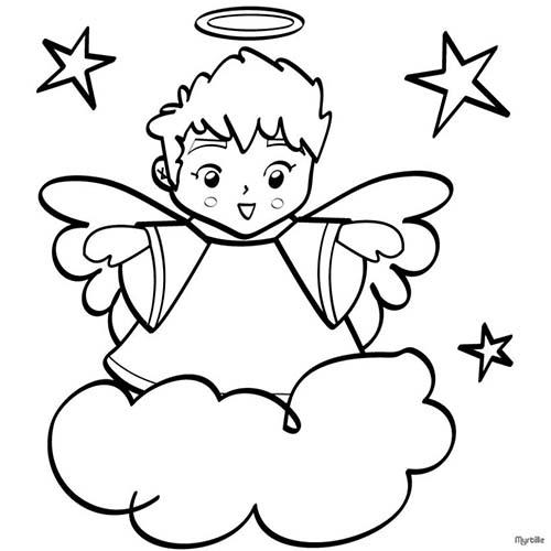 Coloriage anges de noel coloriage d 39 un ange - Anges de noel ...