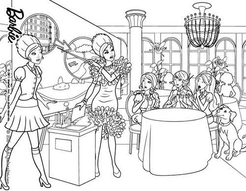 Coloriage barbie apprentie princesse delancy et ses amies - Coloriage barbie apprentie princesse ...