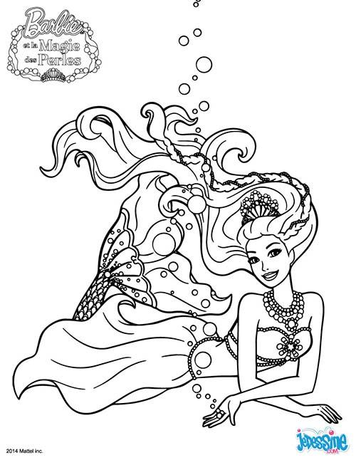 Coloriage barbie et la magie des perles la famille royale des sirenes - Coloriages sirenes ...