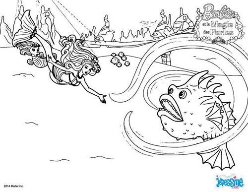 Coloriage barbie et la magie des perles spike le poisson - Coloriage magie ...